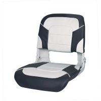 Сиденье для лодки пластмассовое складное с подложкой All Weather High Back Seat, бело-серое